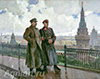 Gerasimov Alexander. Joseph Stalin and Kliment Voroshilov in Kremlin. Art print on canvas - paintings, sale of paintings