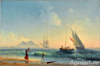 Aivazovsky Ivan. A meeting of fishermen on the coast of the Bay of Naples. Fine art print A3