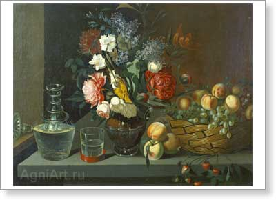 Khrutsky Ivan. Flowers and Fruit. Art print on canvas