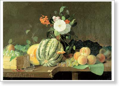 Khrutsky Ivan. Flowers and Fruit 1855. Art print on canvas