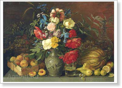 Khrutsky Ivan. Flowers and Fruit.. Art print on canvas