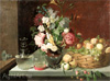 Khrutsky Ivan. Flowers and Fruit 1869. Art print on canvas