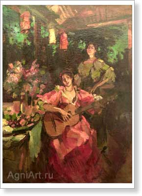Korovin Konstantin. Gipsy Woman with a Guitar. Art print on canvas