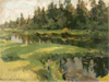 Korovin Konstantin. Landscape with the river. Art print on canvas
