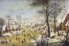 Winter landscape with a bird trap. Art print on canvas