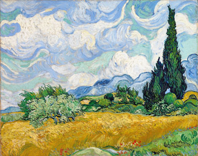 Van Gogh Vincent. Wheat Field with Cypresses. Fine art postcard A6