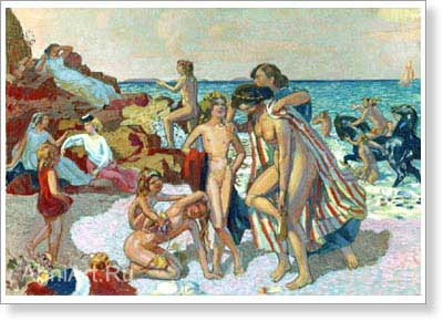 Denis Maurice. Bacchus and Ariadne. Fine art postcard A6