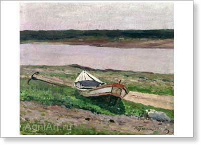 Pereplyotchikov Vasily. Boat on the River Bank. Art print on canvas - paintings, sale