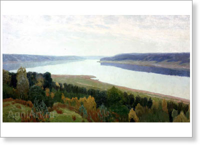 Pereplyotchikov Vasily. landscape with a River. Fine art postcard A6