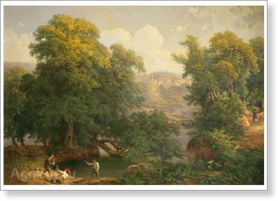 Davydov Ivan. Environs of Rome. Art print on canvas