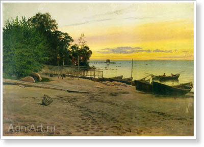Benois Albert (Nicholaevich). Evening on the Seashore. Art print on canvas