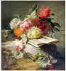 Robie Jean-Baptiste. Flowers and a Book. Art print on canvas - paintings, sale