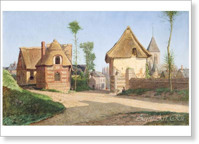 Bogolyubov Alexey. View of a Village in Brittany. Art print on canvas, sale of paintings