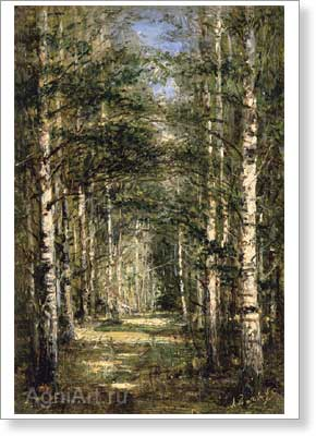 Bogolyubov Alexey. Birch Grove of the Yudino Village. Fine art postcard A6