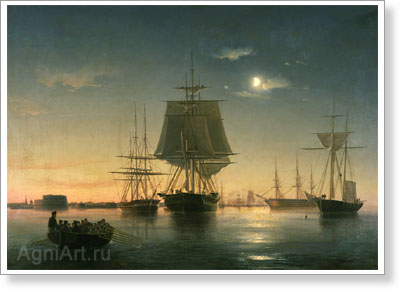 Bogolyubov Alexey. Kronstadt  Roadstead with the Ships at Night. Fine art postcard A6