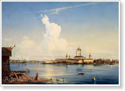 Bogolyubov Alexey. View of the Smolny Convent from Bolshaya Okhta. Art print on canvas