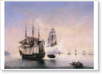 "Bogolyubov Alexey. Capture of the Swedish Frigate ""Venus"" by the Cutter ""Mercury"" on 21 May 1789. Art print on canvas"