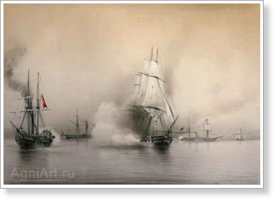 "Bogolyubov Alexey. Battle Between the Frigate ""Flora"" and Three Turkish Steamships. Fine art print A3"