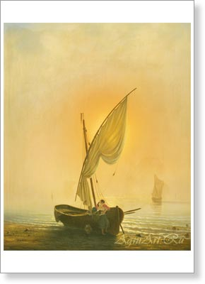 Bogolyubov Alexey. Sunset (Boat with a Sail at the Seashore). Art print on canvas - paintings, sale of paintings