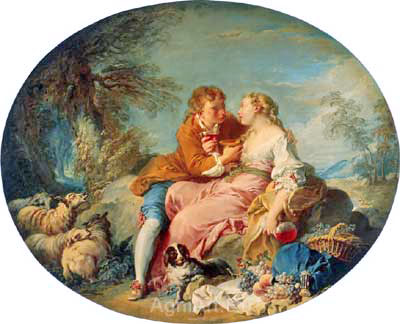 Boucher Francois. Pastoral Scene. Art print on canvas