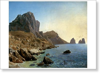 Lagorio Lev. On the Isle of Capri - Coastal Cliffs. Art print on canvas - paintings, sale of paintings