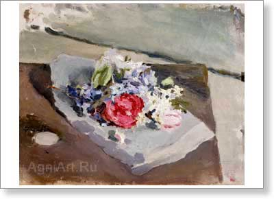 Borisov-Musatov Victor. Flowers. Art print on canvas