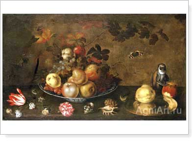 Bauman Jan (Jean-Jacques). Flowers, Fruit and a Monkey. Fine art postcard A6