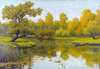 Volkov Yefim. Autumn Landscape with a Lake. Art print on canvas - paintings, sale of paintings