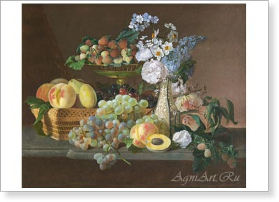 Barzenkov Fyodor. Still Life -- Flowers and Fruit. Fine Art Print A4+