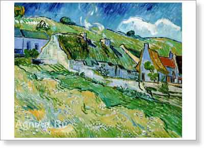 Van Gogh Vincent. Cottages. Fine art postcard A6