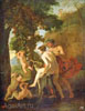 Poussin Nicolas. Satyr and Bacchanate. Fine art postcard A6