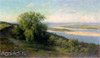 Klodt Mikhail. The Volga near Simbirsk. Fine art postcard A6