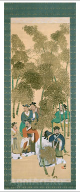 Tomita Keisen. Seven Sages of the Bamboo Grove. Scroll. Art print on canvas - paintings, sale