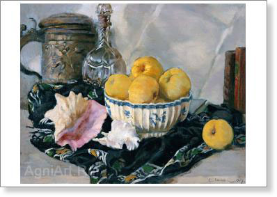 Lancere Eugene. Still Life: Seashell and Apples. Art print on canvas