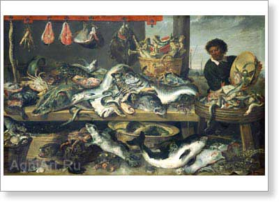 Snyders Frans. The Fishmonger's Shop. Fine art postcard A6