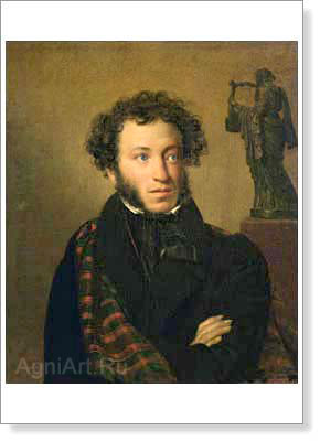 Portraits of Russian writers and poets. Portrait of Alexander Pushkin. Fine art print B3