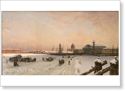 Beggrov Alexander. View of the Neva and the Strelka of Vasilyevsky Island from the Stock Exchange. Art print on canvas