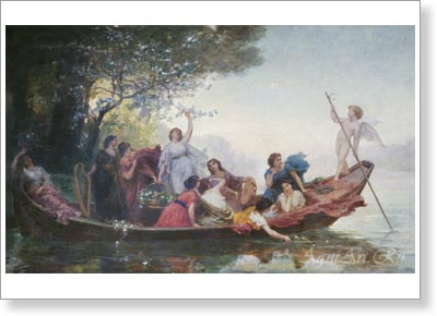 Faure Eugene. Women in a Boat Sailed by Cupid. Art print on canvas - paintings, sale of paintings